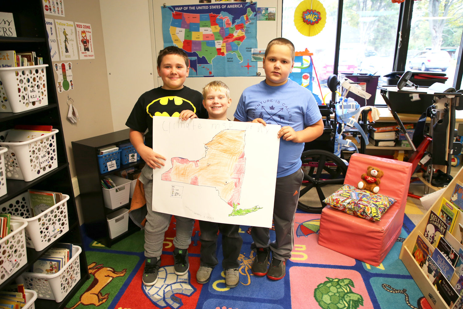 John E. Joy 4th grade students from Mrs. Darcangelo's class are pictured from left to right:  Christian Plunkett, William Aldrich Jr. and Kenny Gilmore