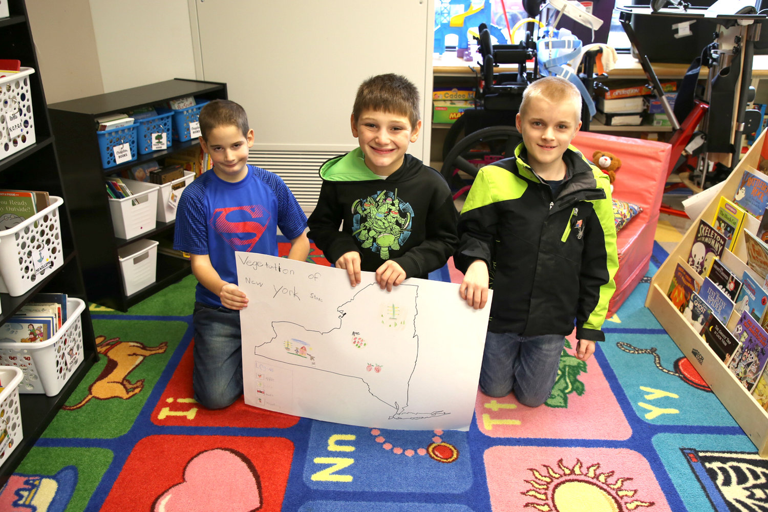 John E. Joy 4th grade students from Mrs. Darcangelo's class are pictured from left to right:  Matthew Grinnals, Patrick DeLong and Jaden Bonanza