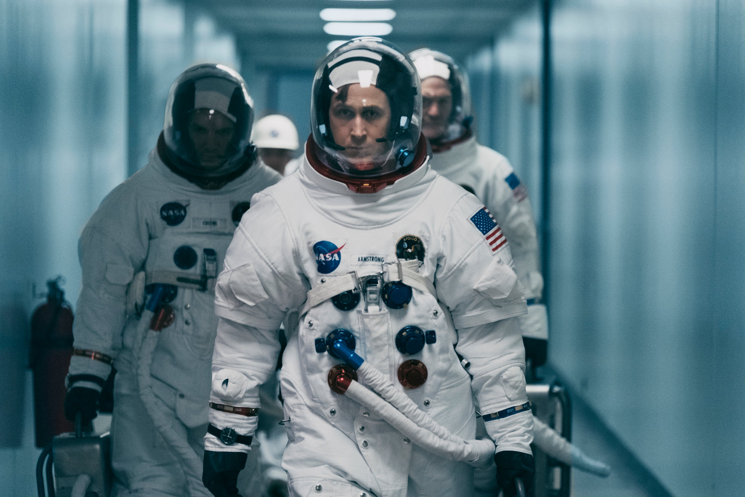 "FIRST MAN — Ryan Gosling in a scene from ""First Man."""