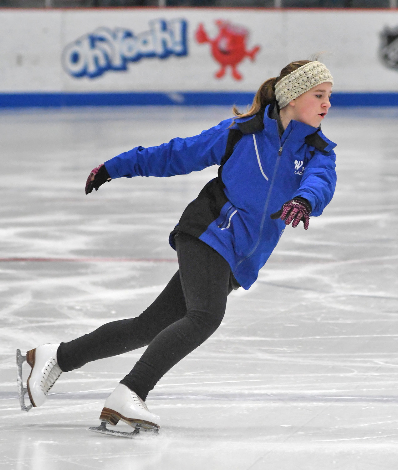 IN HER ELEMENT — Katelyn Potasiewicz practices skating at Clinton Arena last Wednesday afternoon.