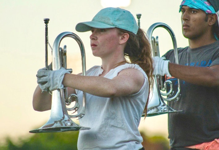 AT ATTENTION — Serenity Morris, of Westmoreland, practices with the 7th Regiment Drum and Bugle Corps of New London, Conn.