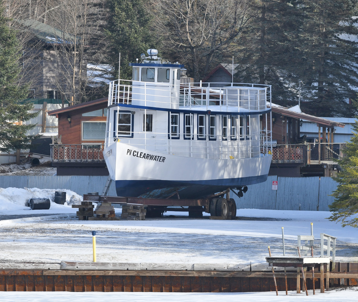 FROZEN AND DRY DOCK — The Clearwater lake-cruise boat dry docked in Old Forge with just inches of snow surrounding it on Wednesday.