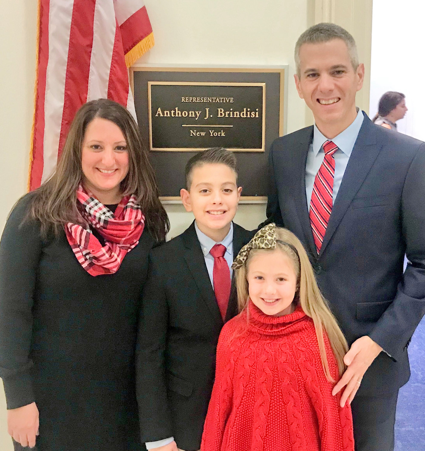 CONGRESSIONAL FAMILY — New Congressman Anthony Brindisi of New York's 22nd District poses outside his Washington office with his wife, Erica McGovern Brindisi and their children Anthony Jr. and Lily Grace. Brindisi, a former state Assembly member and lawyer from Utica, was elected in November and sworn into office Thursday.