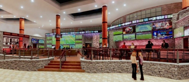 SPORTS BETTING LOUNGE — A rendering of part of a sports-betting lounge planed by the Oneida Indian Nation. Officials at the OIN recently announced a partnership with Caesars Entertainment to offer sports betting.