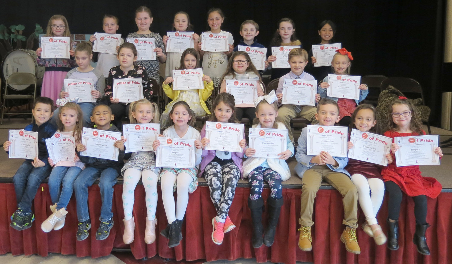 PILLARS OF PRIDE — Ridge Mills Elementary School honored students who exhibited the character values of cooperation and respect during a ceremony on Jan. 17. Among those students from kindergarten through third-grade recognized were, from left:  Front row: Gino Mellace, Madelyn VanEtten, Joseph Walker Grant, Adalyn Froelich, Aubree Matthews, Celia Cataldo, Maya Williamson, Jude Sestito, Caroline Adey, Madelyn Hummel; middle row:  Jaelynn Baker, Natalie Jones, Arianna Matthews, Aubrey Sroka, Brayton Olney, Ellyonna Chase; and back row: Sloane Sestito, Connor Dunn, Madalyn Rood, Camryn Baldwin, Isabella Cunningham, Tyler Cianfrocco, Lola Hand and Julian Sihapanya.