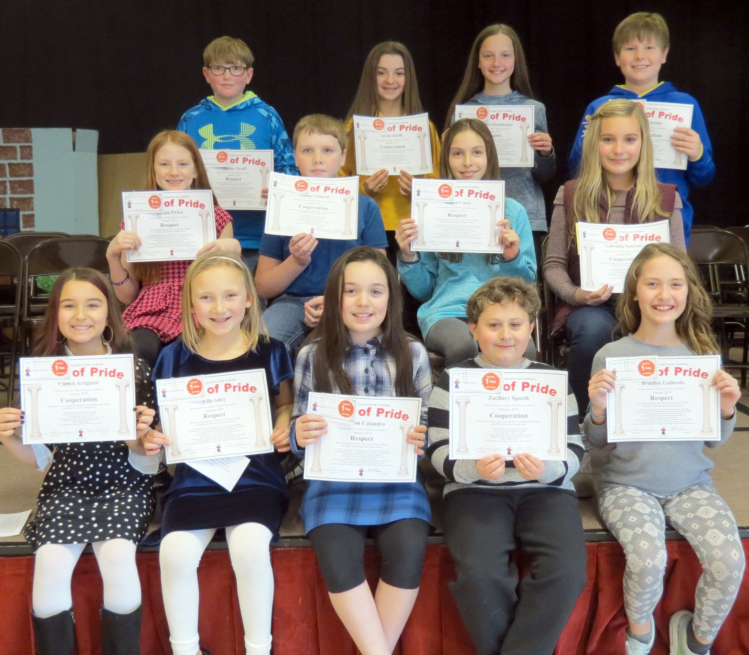 DEMONSTRATING GOOD CHARACTER — Ridge Mills Elementary School recently honored students in grades four through six for displaying the character values of cooperation and respect as part of its Pillars of Pride program. Among the students receiving awards were, from left: front row: Caelyn Artigiani, Ella Adey, Peyton Calandra, Zachary Spaeth, Braelyn Gallardo; middle row: Emma Pickett, Hunter Gifford, Aileen Carey, Gabriella Sanzone; and back row: Josh Yoxall, Jayda Adolfi, Kathryn Passalacqua and Jacob Ciccone.