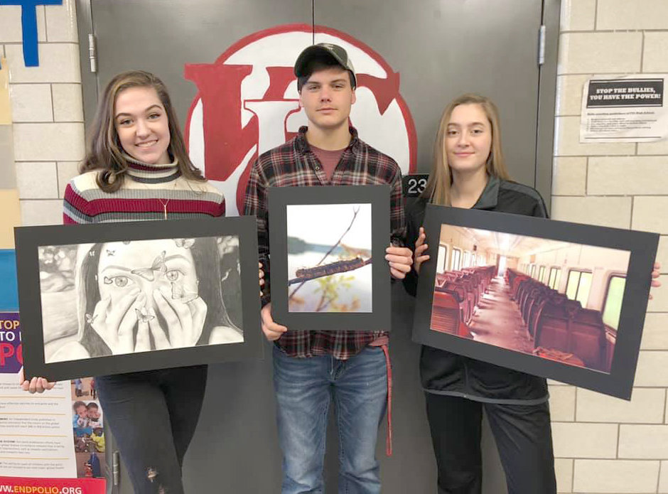 ART SHOW HONORS — Vernon-Verona-Sherrill students who were awarded Silver Keys at the Scholastic Art Show, from left: Abbygail Coston, 11th grade; Elijah Creedon and Julia Kaar, both 12th grade.