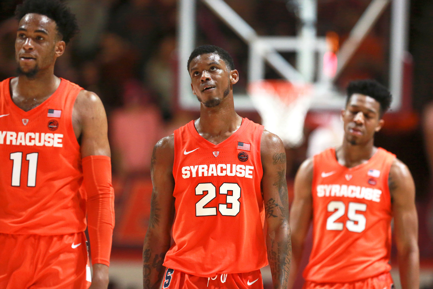 NO FUN — Syracuse teammates, from left, Oshae Brissett, Frank Howard and Tyus Battle look at the scoreboard during the second half of Saturday night's 78-56 loss to Virginia Tech in Blacksburg, Va.