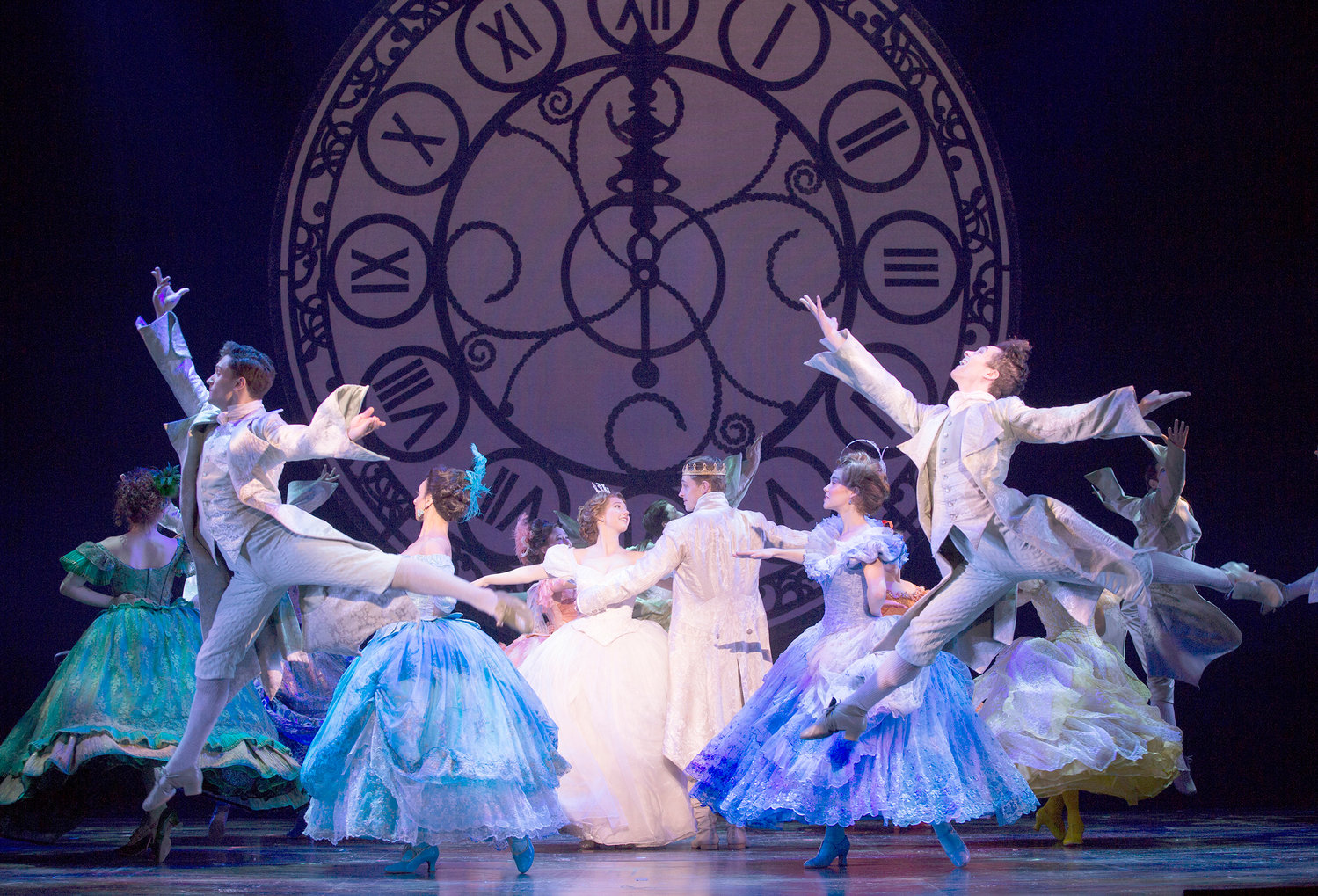 "AT THE BALL — Kaitlyn Mayse and Lukas James Miller (center) and the cast of ""Rodgers + Hammerstein's Cinderella."""
