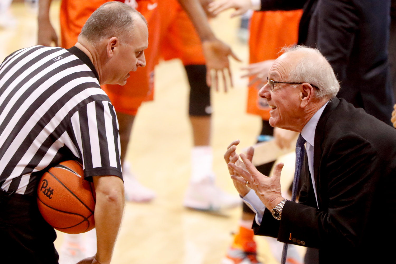 PLEADING HIS CASE — Syracuse coach Jim Boeheim goes one-on-one with an official during Saturday's ACC game against Pittsburgh. The Orange posted a 65-56 road win.