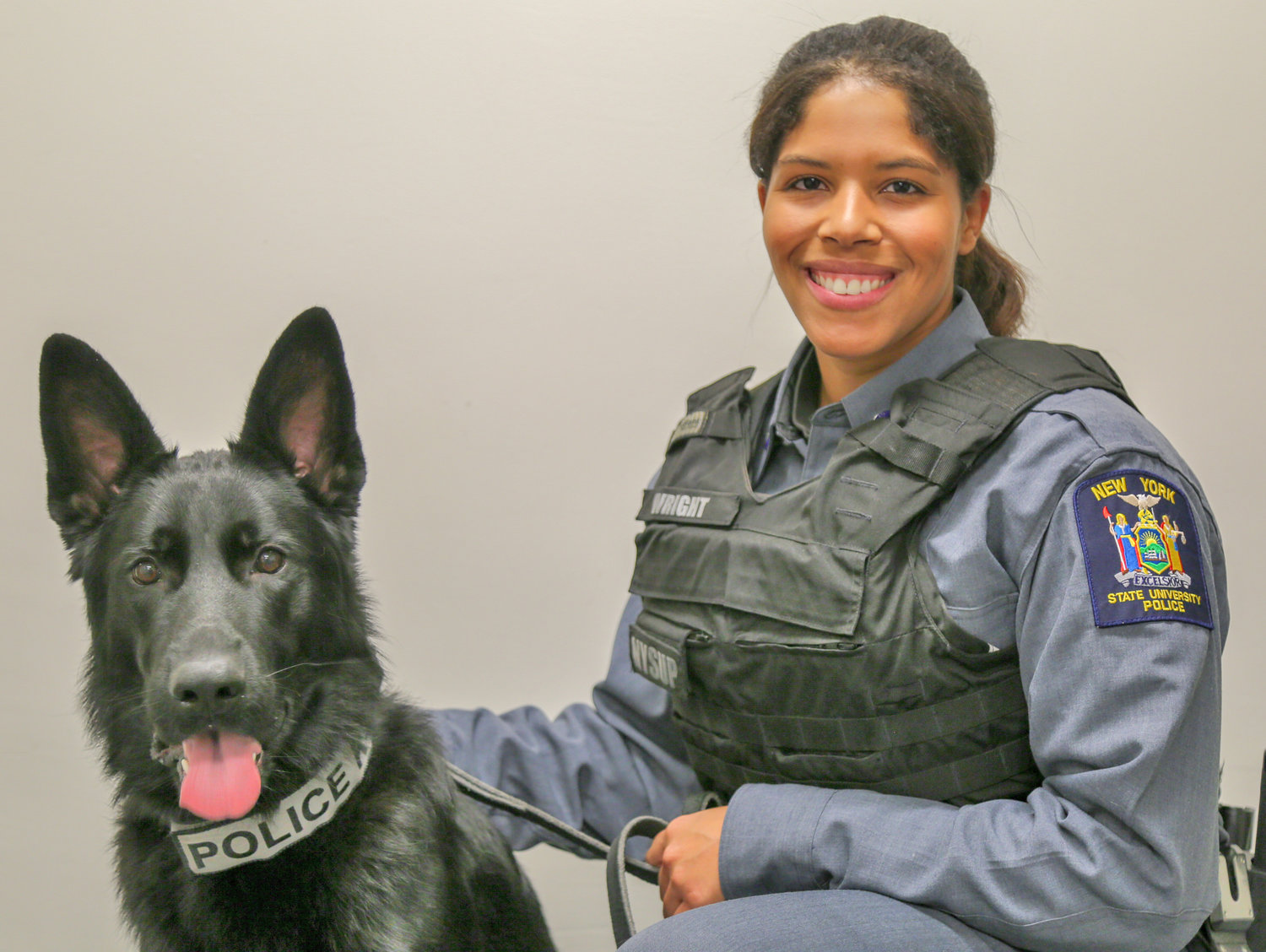 IN TRAINING — For the next 20 weeks, Bruin, a year-old black German Shepherd, and his new partner, New York State University Police Officer Nicole Wright, will undergo intense training at the New York State Police Canine Training Facility in Cooperstown.