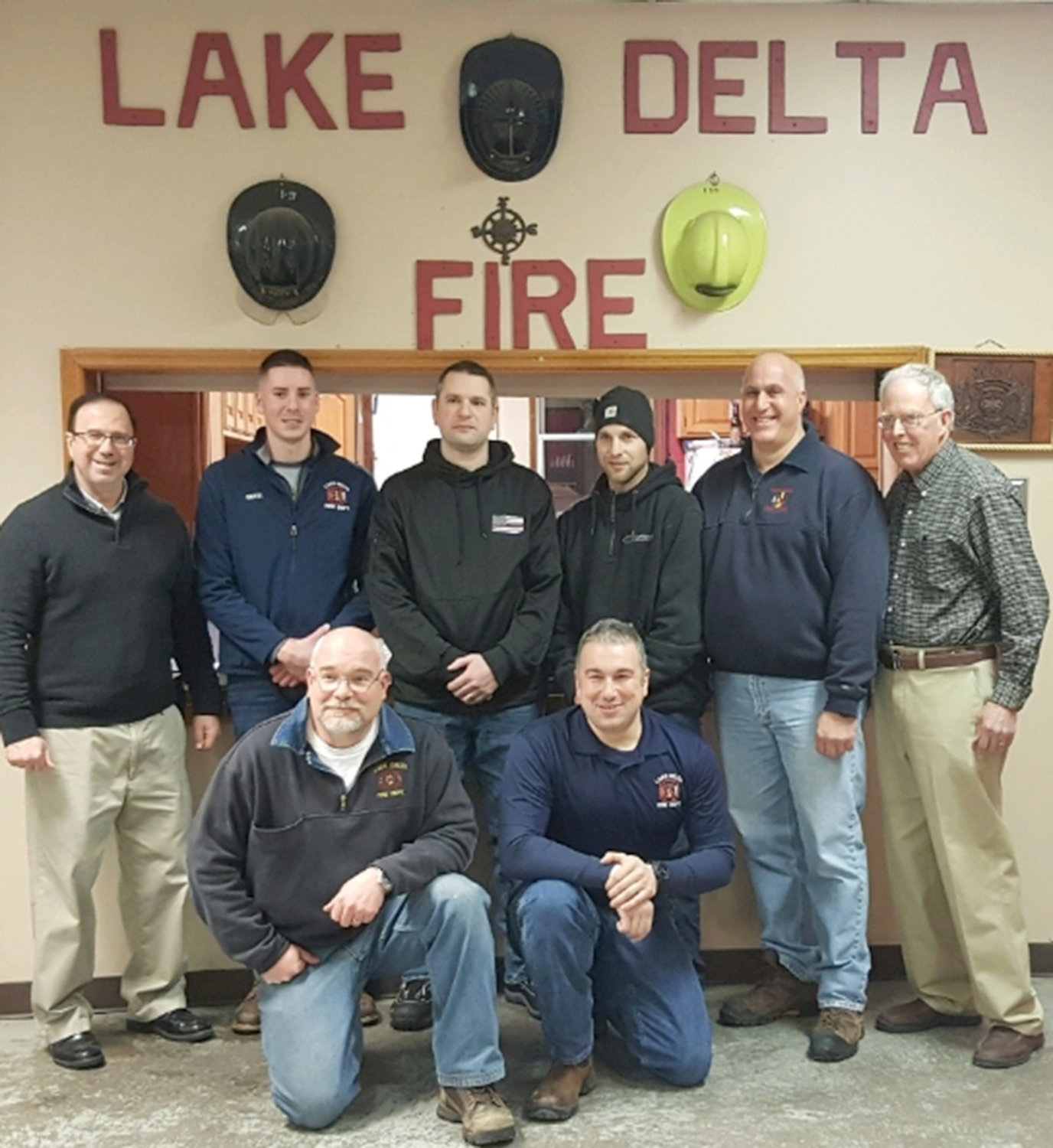 LAKE DELTA VFD OFFICERS — The Lake Delta Volunteer Fire Department has installed fire and civil officers for 2019. In back: State Sen. Joseph Griffo, who swore in the officers; Anthony Gotti, captain; Dan Goldman, lieutenant; Ryan Liebi, captain; Larry Tamburrino, chief; Ed Davis, president. In front: Paul Taylor, assistant chief; Rich Abdou, assistant chief.