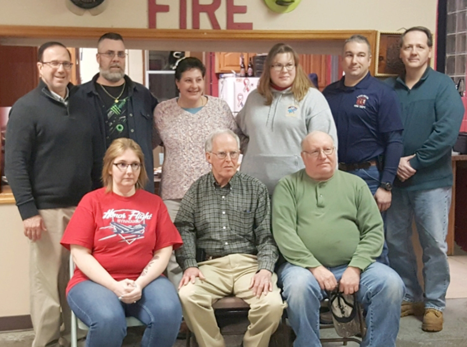 FIRE DEPARTMENT INSTALLATIONS — Among the Lake Delta Volunteer Fire Department's installations of civil and fire officers for 2019, in back: State Sen. Joseph Griffo, who swore in the officers; Jeff Lemieux, board member; Lauri Tamburrino, treasurer; Amy Evans, vice president; Rich Abdou, board member; Dennis Sexton, secretary. In front: Pam Lemieux, board member; Ed Davis, president; Dan Gorski, chairman of the board.