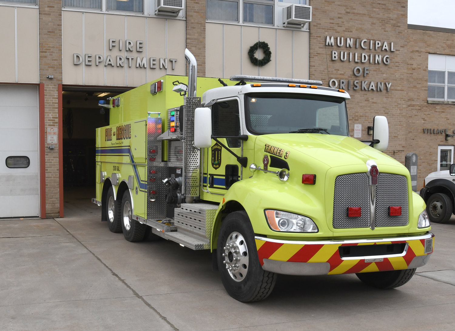 """BOBBY BOUCHER"" — The Oriskany Fire Department's new tanker/pumper truck is unveiled at the fire station. Oriskany Fire Chief Jeffrey Burkhart said the new truck is nicknamed ""Bobby Boucher"" after the main character in the 1998 film ""The Waterboy."""