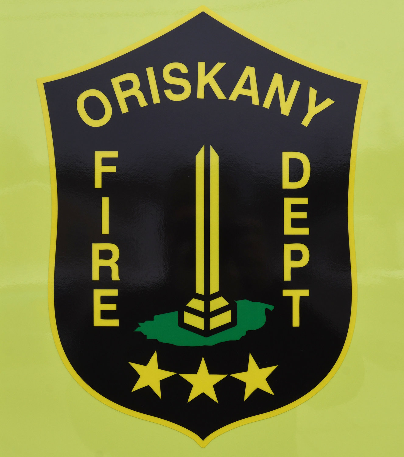 The shield on the side of the new Oriskany Fire Department tanker that was formally in service Friday night.