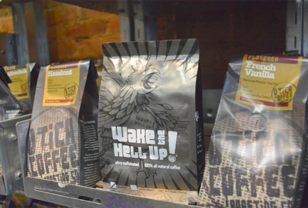 INTERNATIONALLY KNOWN — Utica Coffee's Wake the Hell Up! brand coffee is getting international attention after it was featured on a Buzzfeed St. Valentines Day list of things to buy your significant other. Located at 1 West Park Row across from the Clinton green you better hurry to get yours, it's hard to keep in stock.