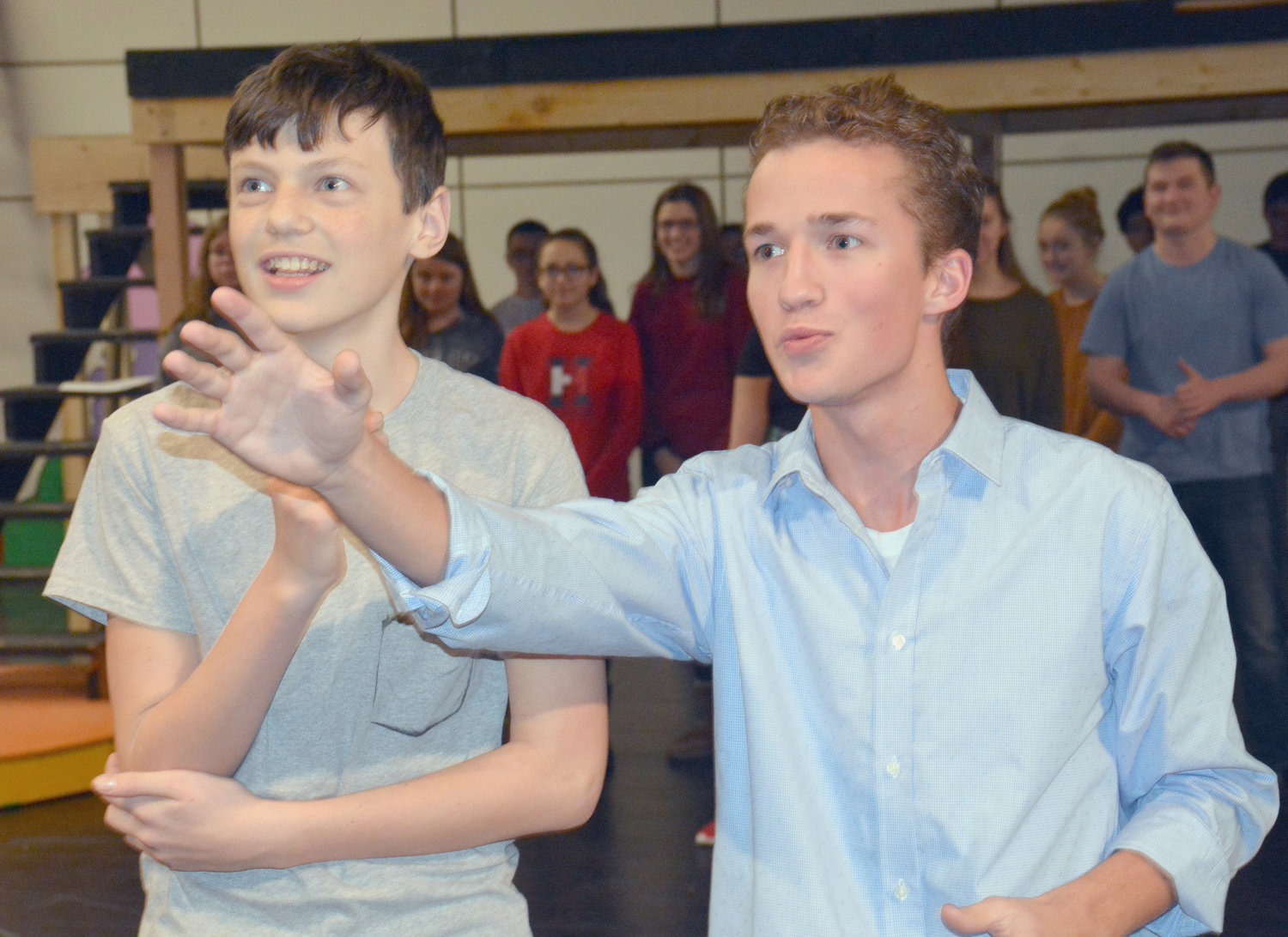 "DR. SEUSS ON THE LOOSE — Clinton High School students, Landon Stilz (JoJo) and Jack Drejza (The Cat in the Hat) rehearse for Clinton High School's upcoming musical presentation, ""Seussical the Musical"" at the Clinton High School Theater.  Opening night is March 7, with additional performances on March 8 and 9. Box office opens at 6 p.m., curtain goes up at 7:30 p.m."