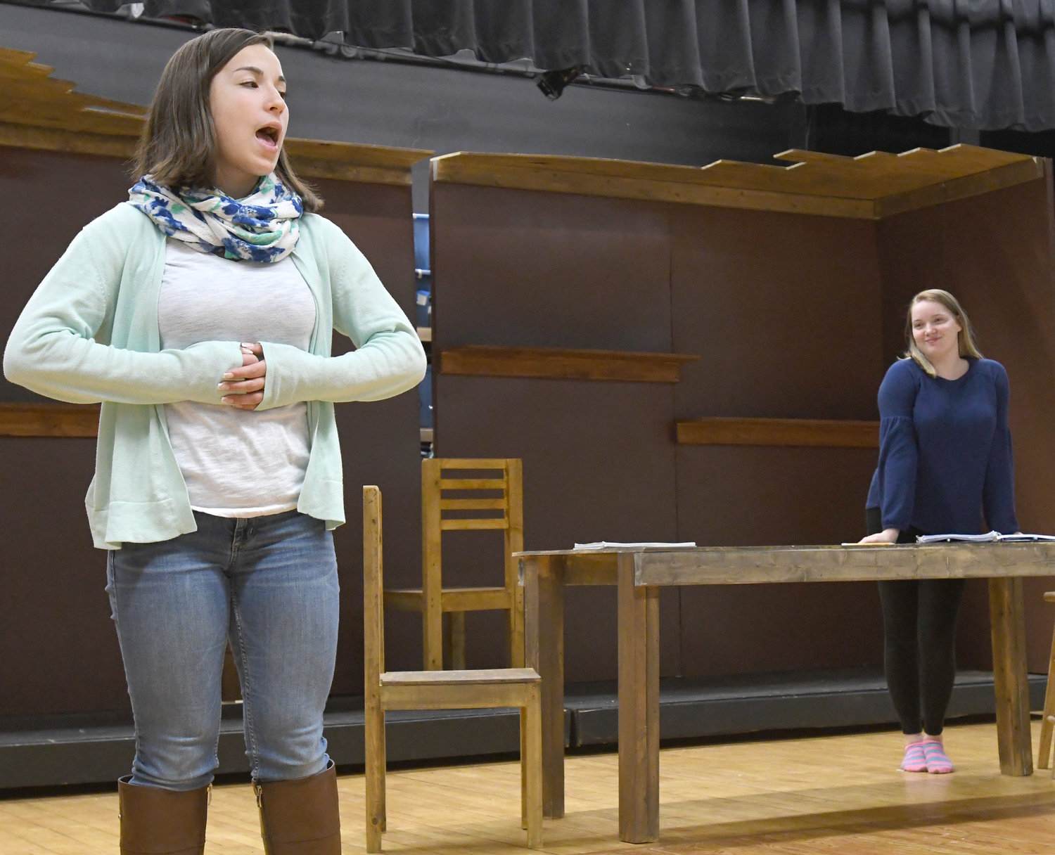 "CLIMB EVERY MOUNTAIN — Danielle Flack as Mother Abbess sings a tune with Maria, played by Meghan Donnelly, during rehearsals for ""The Sound of Music"" at Westmoreland High School."