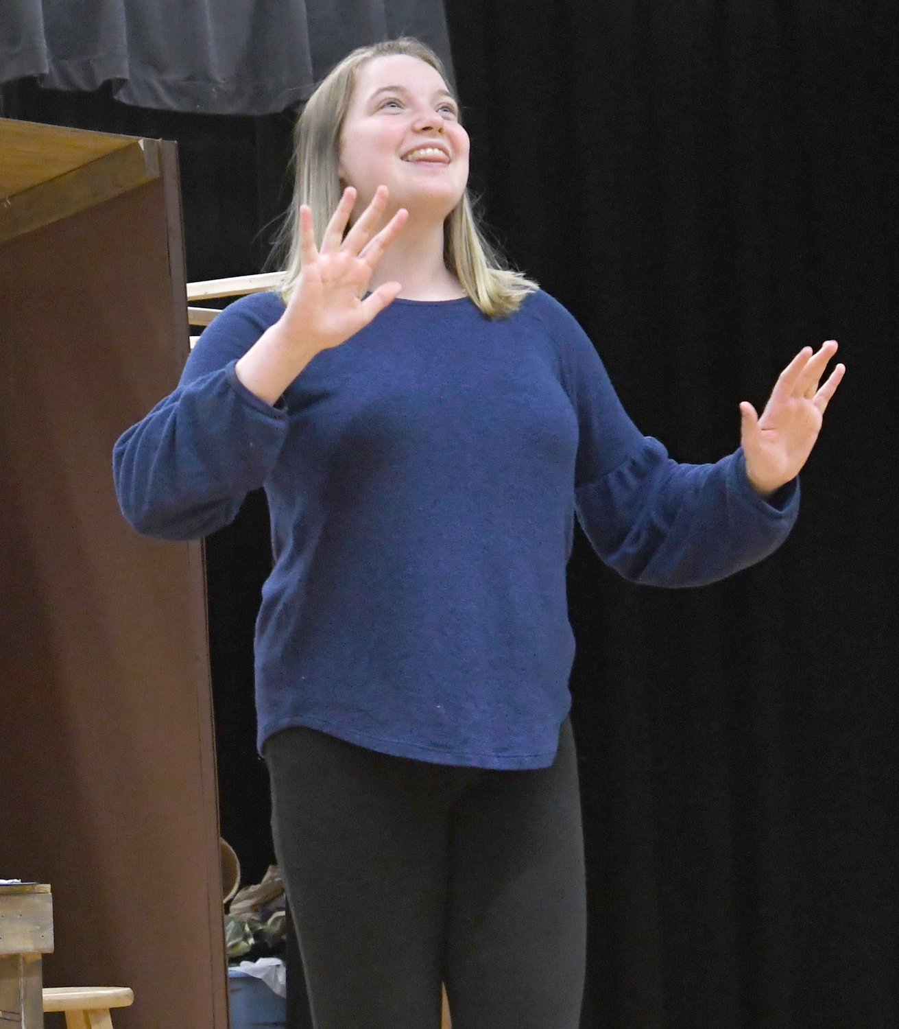 DO-RE-MI — Maria, played by Meghan Donnelly, sings a song during rehearsals for The Sound of Music at Westmoreland High School.  Students will present their performance at the high school auditorium March 21-23.
