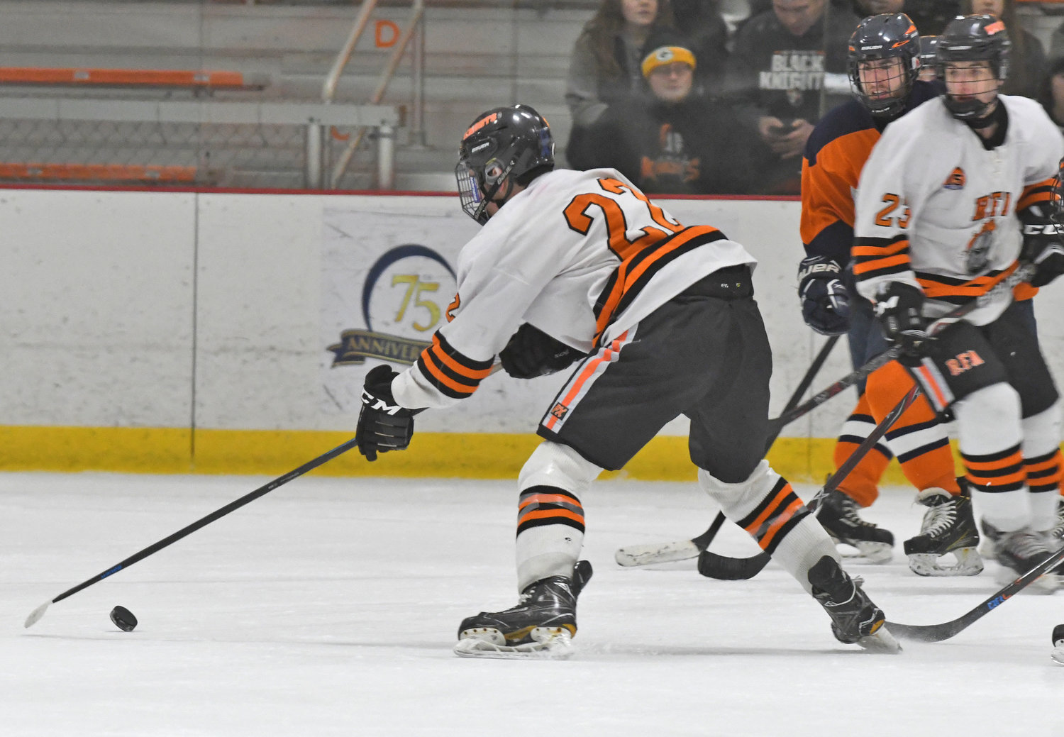 HOCKEY ALL-STAR — Rome Free Academy captain Danny Mecca, shown taking a shot during a game against Liverpool earlier this season, has been named a Section III Division I first-team all-star.