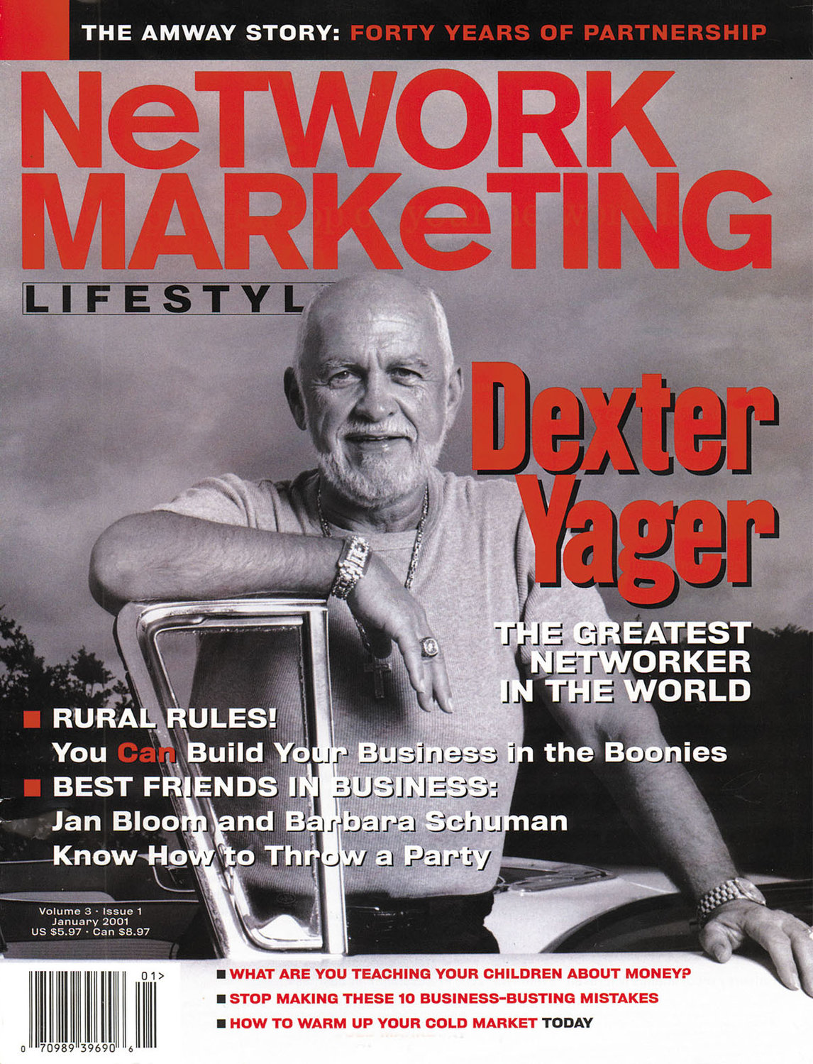MAGAZINE MAN — The January 2001 issue of Network Marketing Lifestyle featured Dexter Yager on the cover, with one of his classic cars.