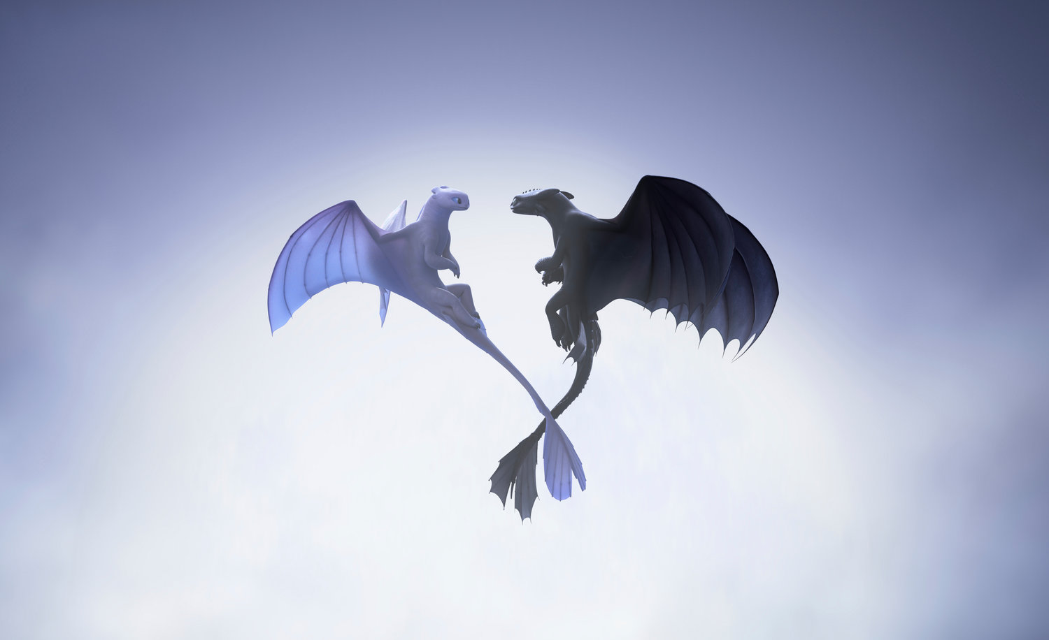 "DRAGONS — This image released by Universal Pictures shows characters, female Light Fury dragon, left, and Night Fury dragon Toothless, in a scene from DreamWorks Animation's ""How to Train Your Dragon: The Hidden World."""