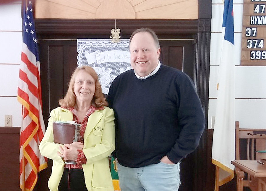 HECLA UNION — Ron Klopfanstein with Pastor Phyllis Kitchen of the Hecla Union Congregational Church.