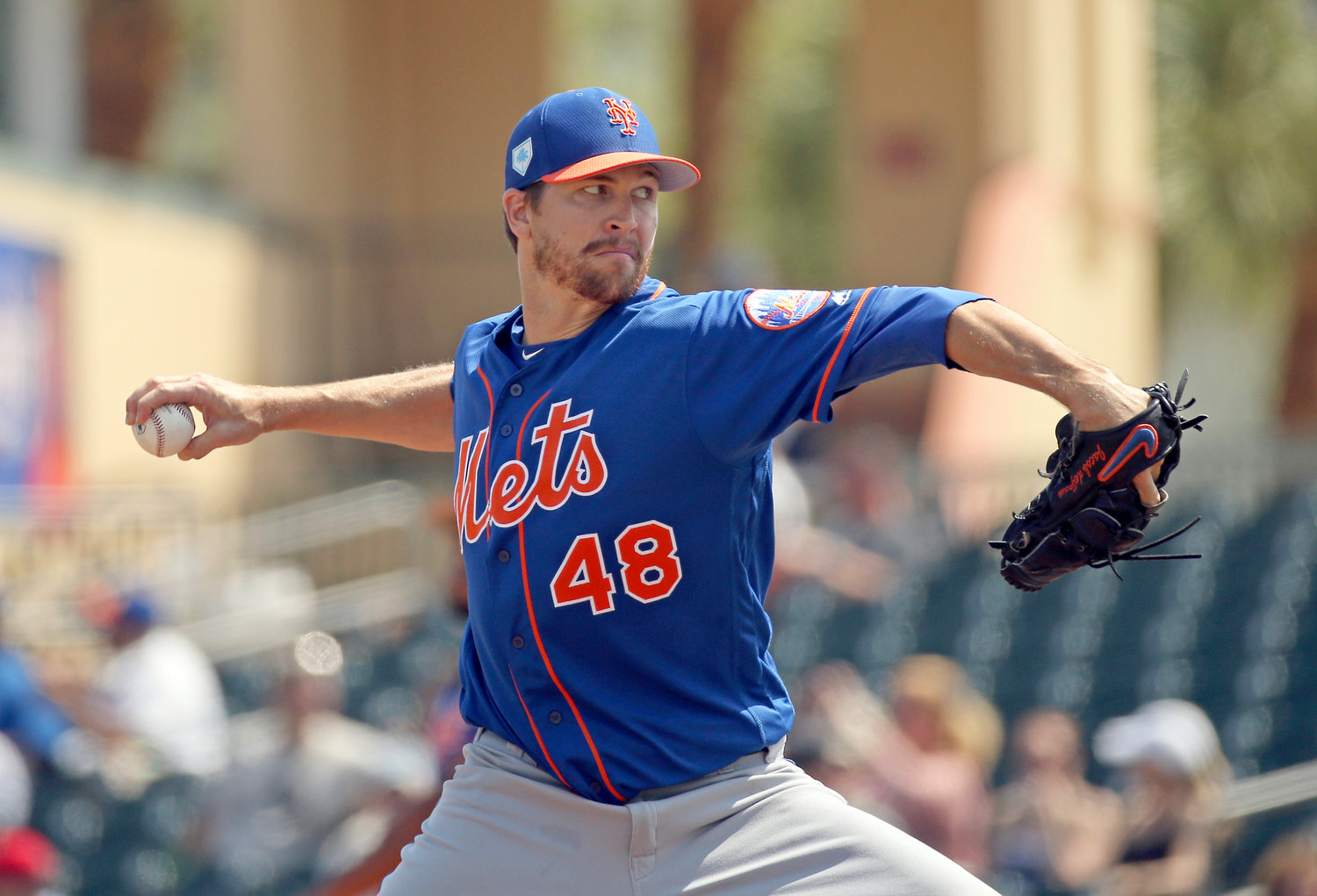 COMING TO THE DOME — Mets pitcher Jacob deGrom, shown during Tuesday's spring training game against the Marlins in  Jupiter, Fla., is among the players expected to work out at the Carrier Dome on March 26.