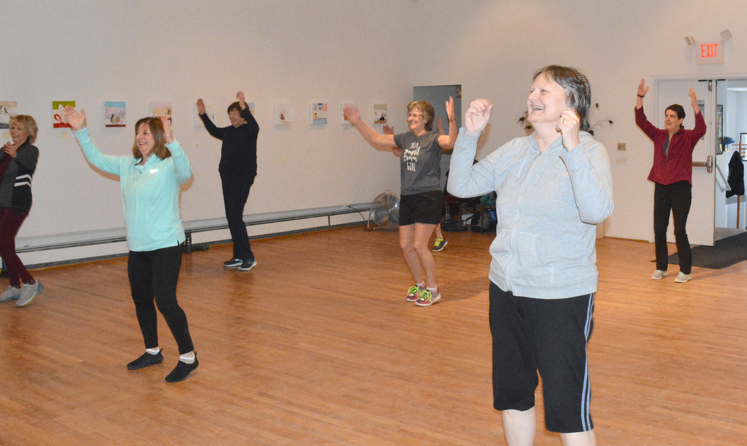 EXERCISE IN DISGUISE — Village of Clinton ladies love the Zumba Fitness classes at the Kirkland Art Center just across the street from the village green. The classes are held every Tuesday and Friday morning at 9:15 a.m.