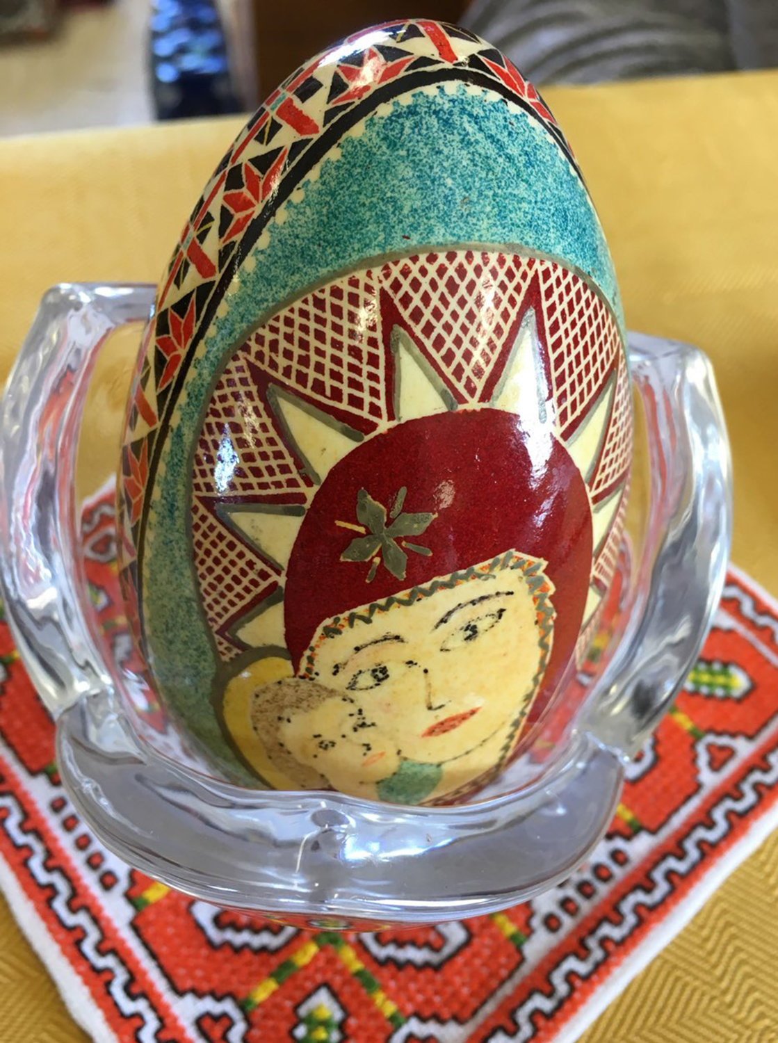 RELIGIOUS PORTRAIT — With wax, dyes and traditional tools, Mary Kuchera, of Oriskany, drew the portrait of the Virgin Mary and child on her pysanky egg, which all have unique symbolisms and designs.