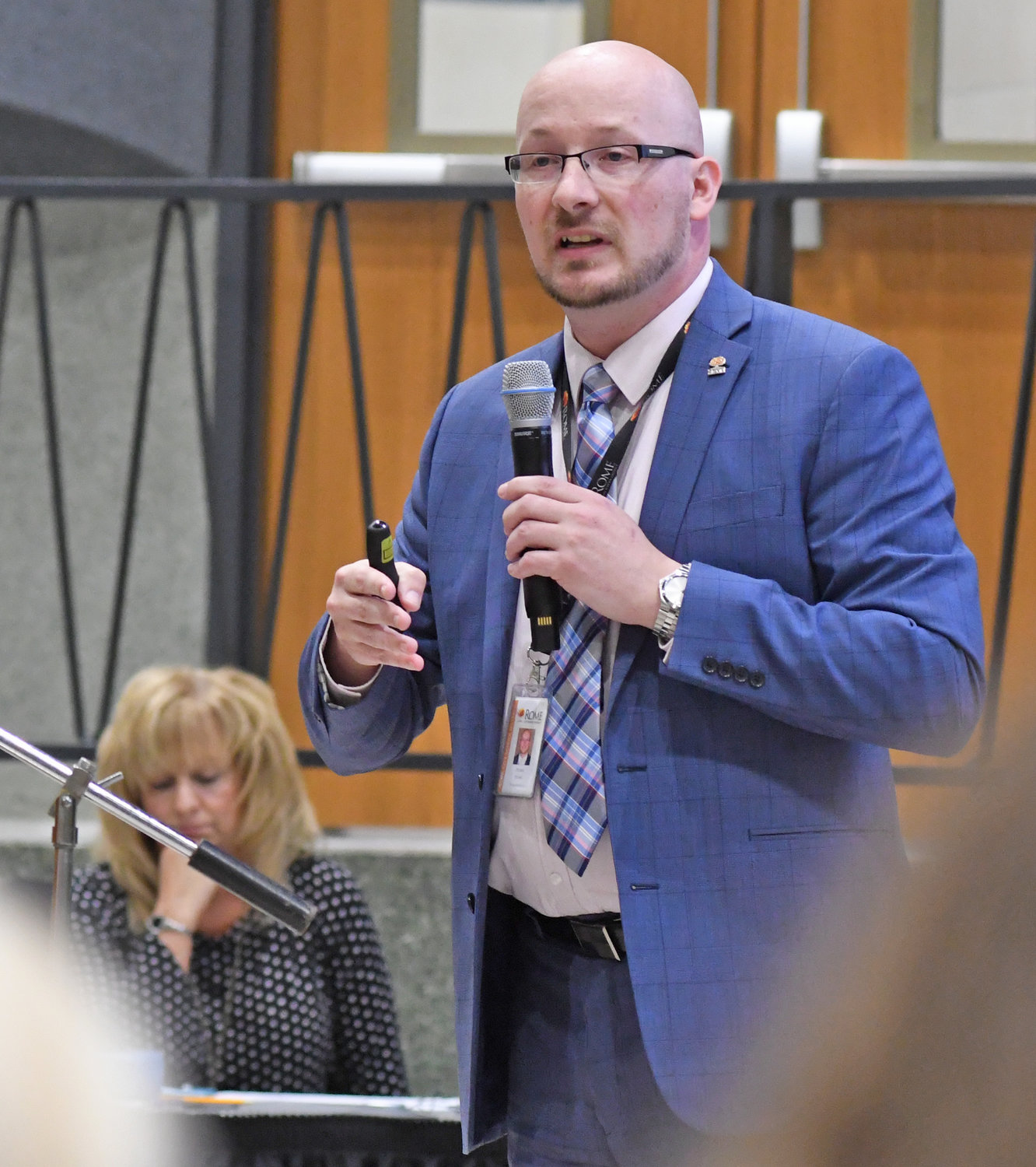 SEEKING ALTERNATIVES — Rome City School District Superintendent Peter Blake discuss the district's budget problems, and possible solutions, during his budget presentation Thursday.