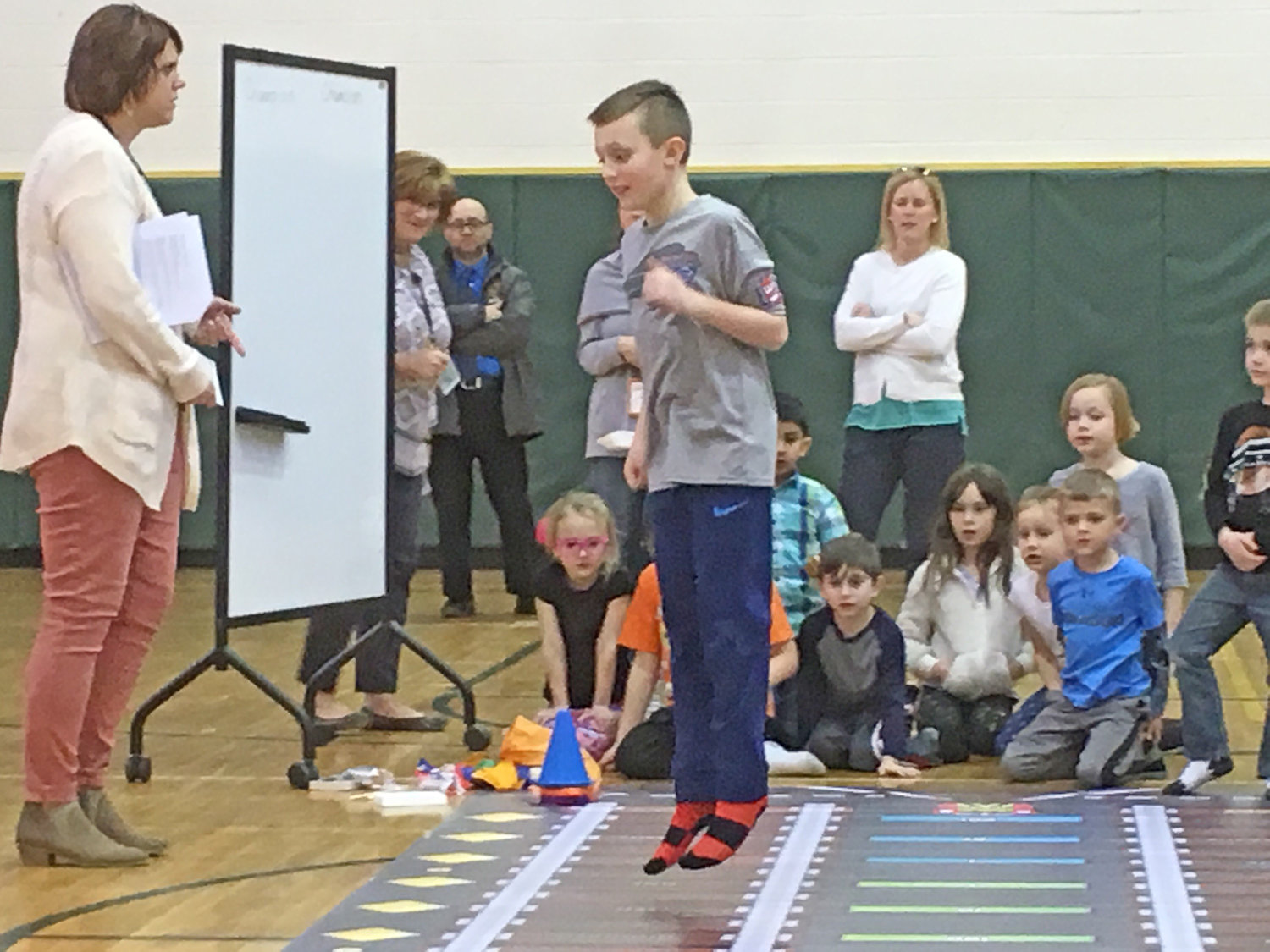 LET'S GET PHYSICAL — Kids got to test their math skills and had fun being physically active during the Jump2Math activity at the ZI3 Adventure Night held at Westmoreland Upper Elementary School March 27.