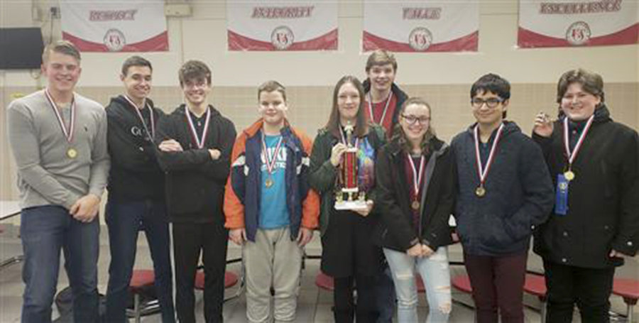 TEAM GOLD — Members of the Westmoreland Junior/Senior High School Mathletics team took first place for the second consecutive year for the 2018-19 season. From left: Benjamin Christensen, Collin Kelly, Bryce Daskiewich, Cayden Osborne, Madelyn Massett, Brandon Massett, Carrah Sadler, Angelo Carletta and Dakota Saxe.