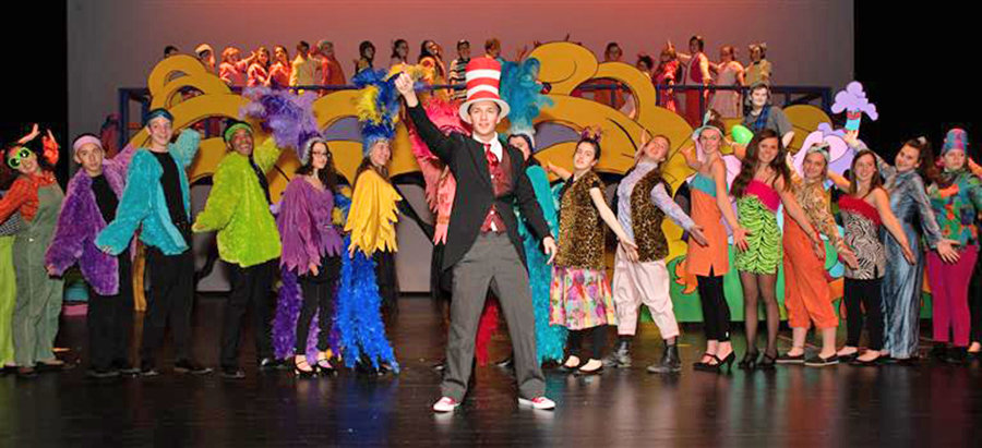 "CAT IN THE HAT — Singers and dancers perform a scene from ""Seussical the Musical"" performed by Clinton Central School students March 7-9."