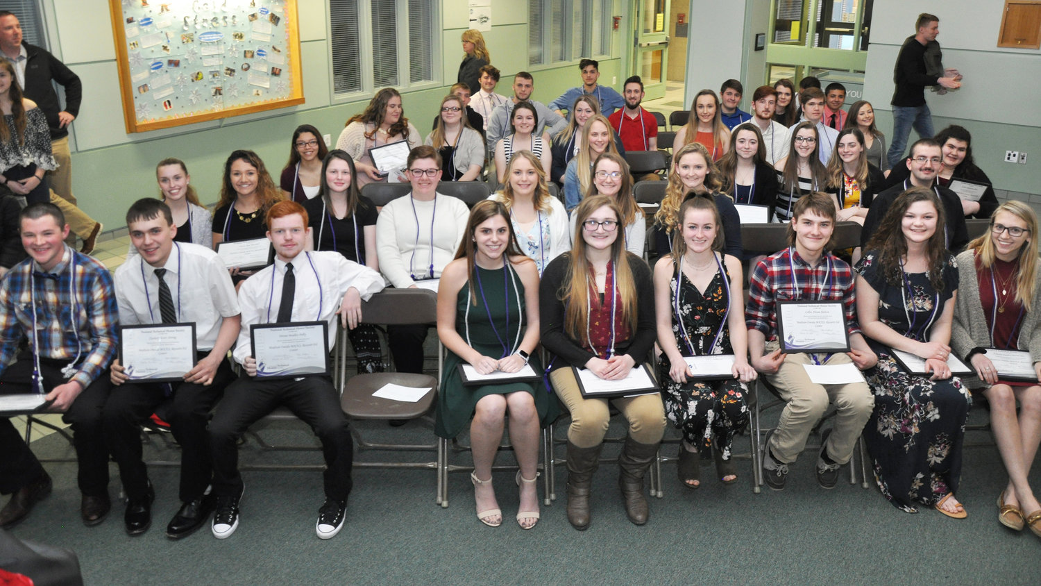 BOCES HONOR SOCIETY INDUCTEES — Shown here are some of the 112 students from nine local school districts who were inducted into the MOBOCES chapter of the National Technical Honor Society.