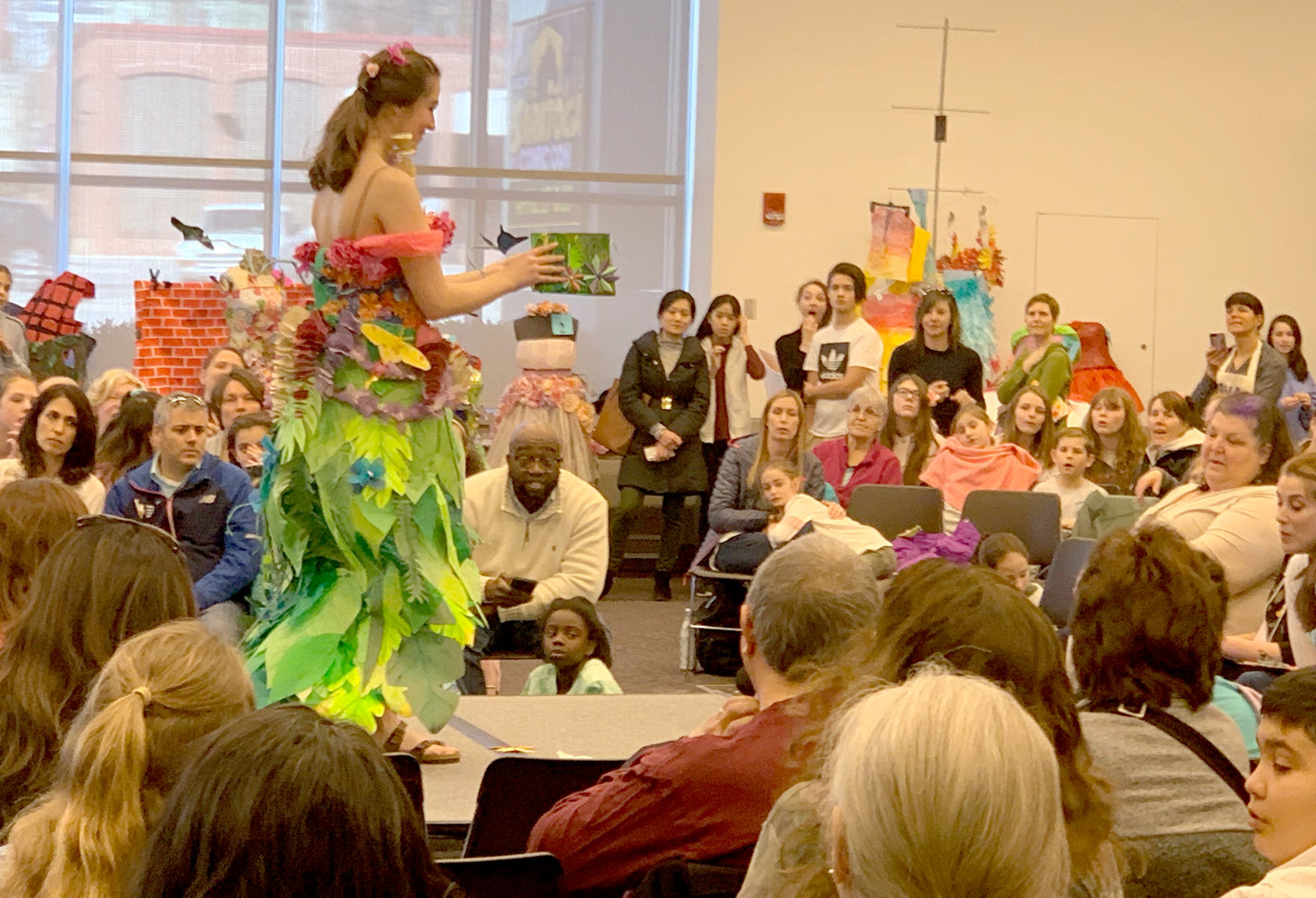 FASHION SHOW — A student models their paper gown creation at the 37th annual Olympics of the Visual Arts in Saratoga Springs on April 4.