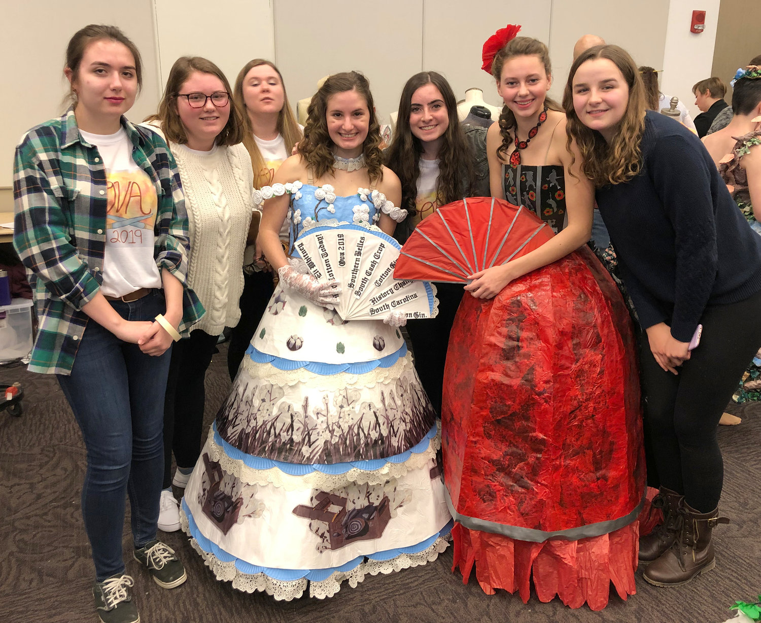 PAPER PRINCESSES — Clinton High School students show off their paper dress designs at the Olympics of the Visual Arts in Saratoga Springs April 4.