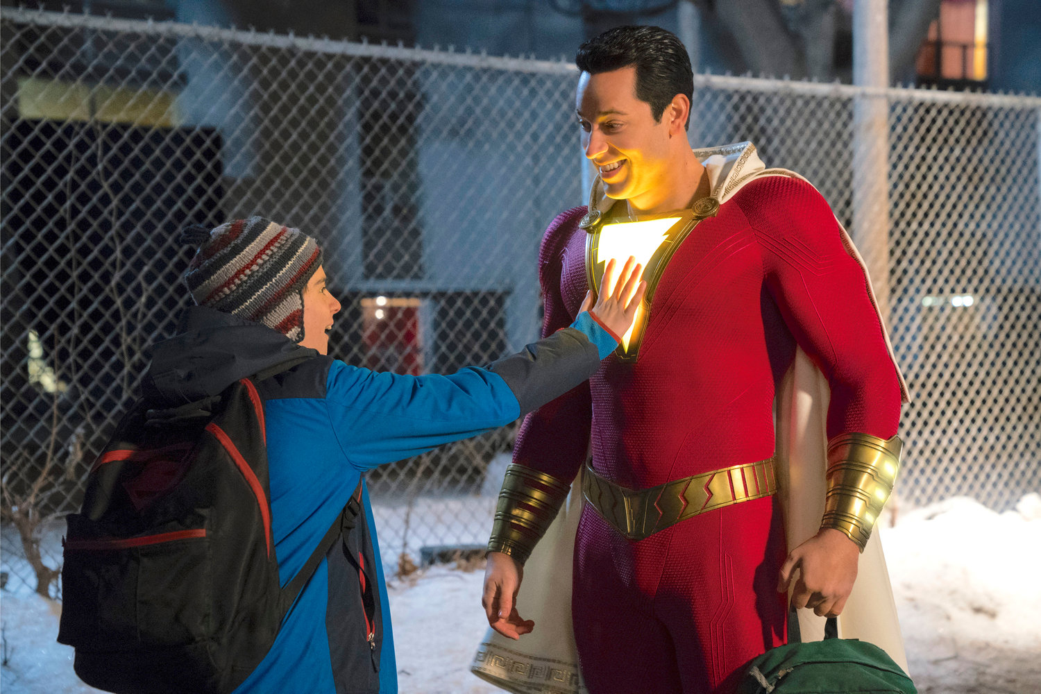 "HEROIC — Zachary Levi, right, and Jack Dylan Grazer in a scene from ""Shazam!"""