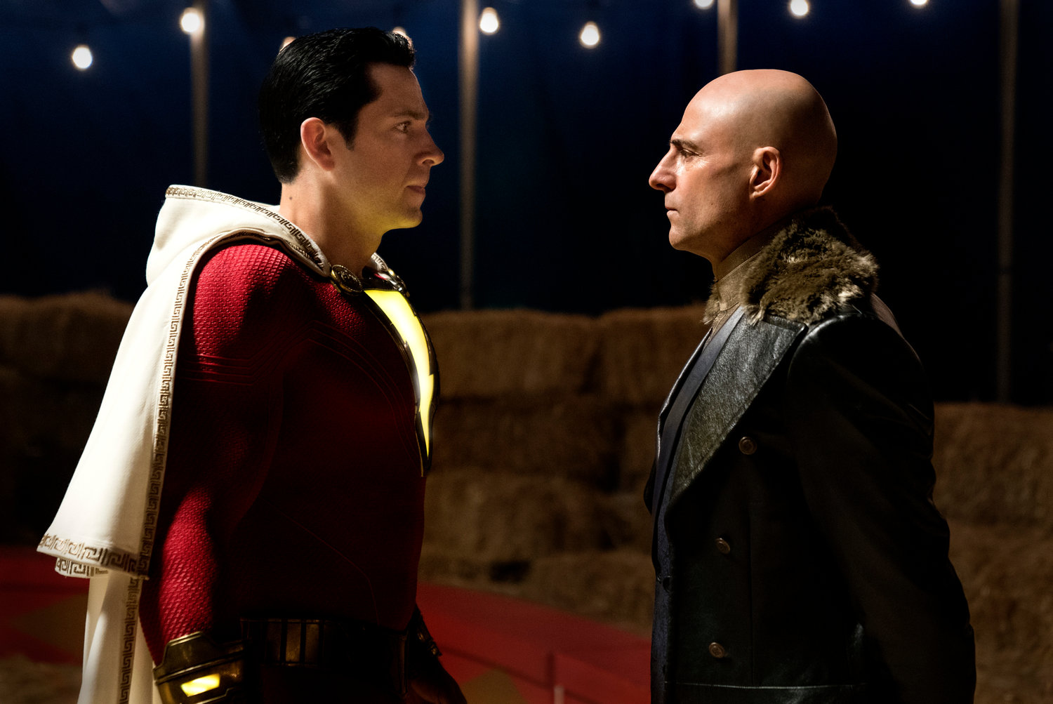 "This image released by Warner Bros. shows Zachary Levi, left, and Mark Strong in a scene from ""Shazam!"" (Steve Wilkie/Warner Bros. Entertainment via AP)"
