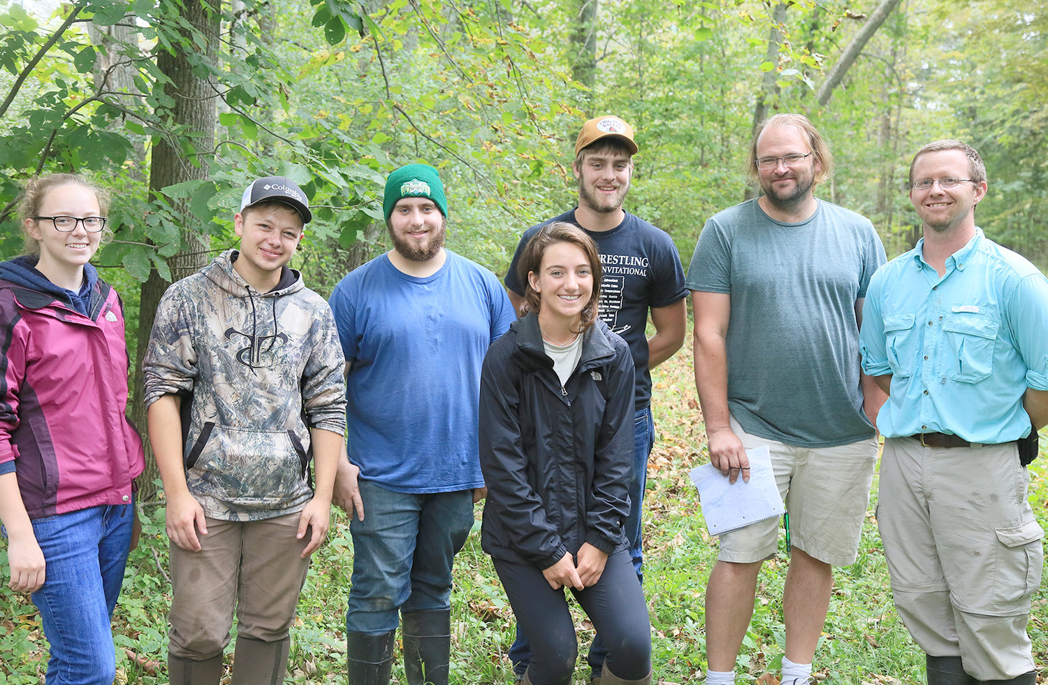 IN THE FIELD — Pictured are SUNY Morrisville professor Eric Diefenbacher and students in his fall 2018 Herpetology class, who were recently published in a scientific journal. From left: Emily Coscomb, Collin Sullivan, Talon Abrams, Kate Augustine, Sam Casler, Phil Keville and  Diefenbacher.