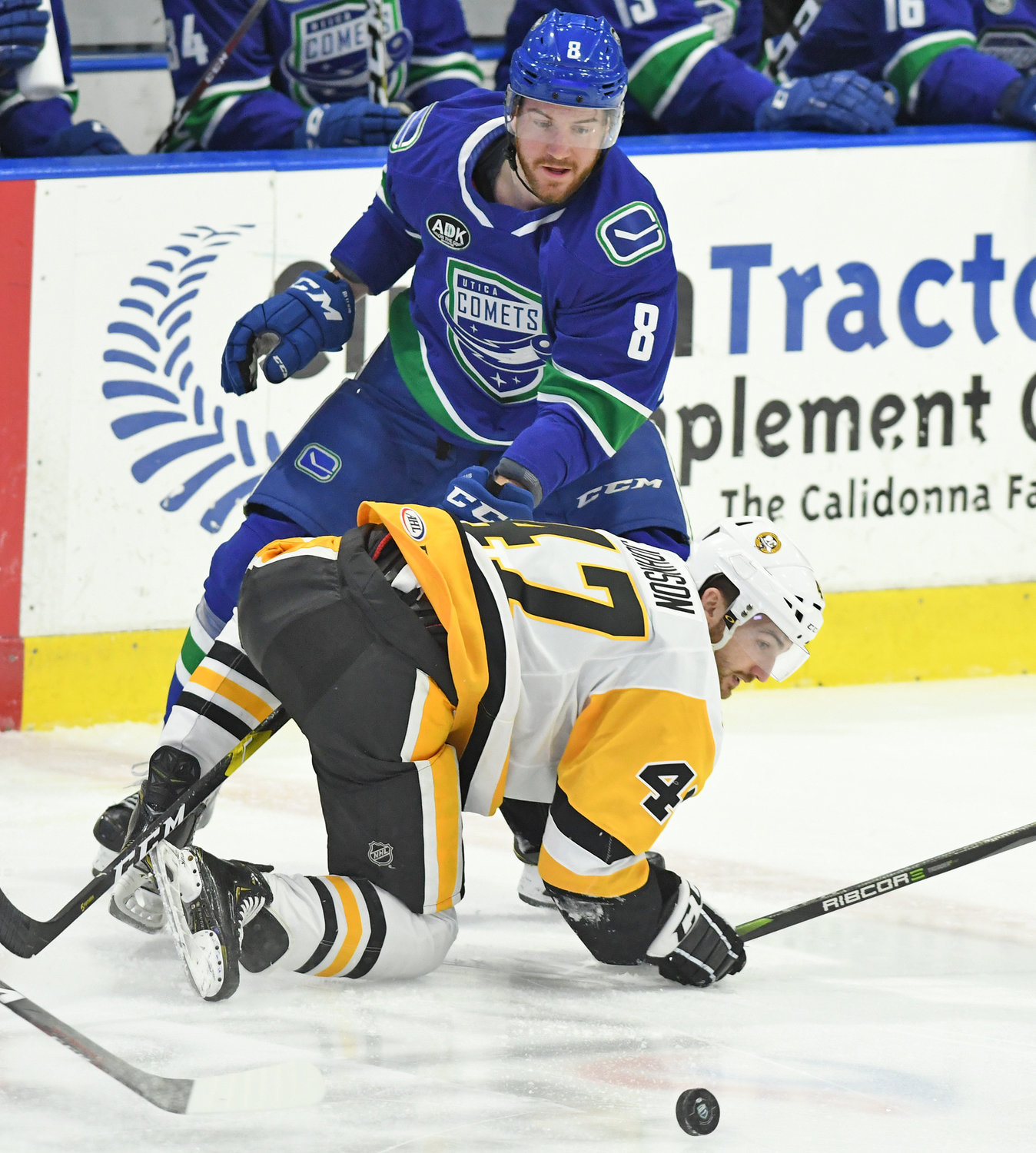 PHYSICAL BATTLE — Comets defender Dylan Blujus eyes the puck as Adam Johnson of Wilkes-Barre/Scranton gets back to his feet during the first period of Friday's 8-1 win by the Comets at the Utica Aud.