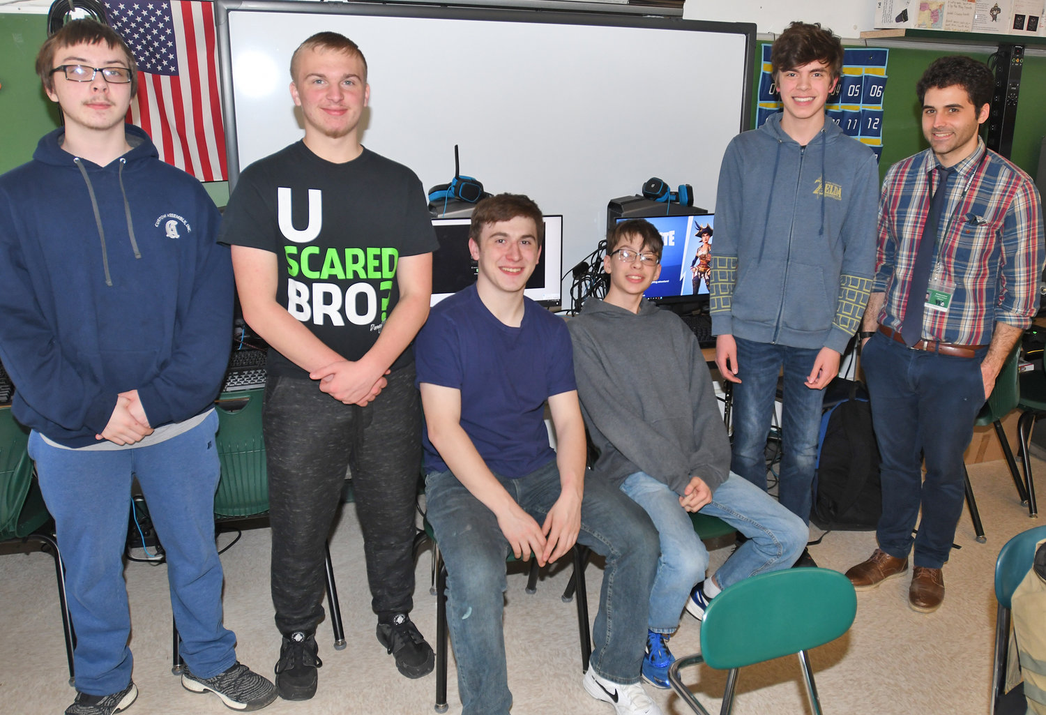 "WESTMORELAND VIDEOGAMERS — Among members of Westmoreland High School's esports team, from left: gaming captains Stanley Kukowski, for the ""Rainbow Six Siege"" game, and Cadyn Patterson, for the ""Rocket League"" game; Trevor Owens; gaming captains Dylan Kimball, for the ""Fortnite"" game, and Jayden Fedoroff, for the ""Super Smash Brothers"" game;  and their adviser, global studies teacher Gianni Notaro."