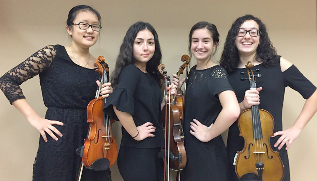 PLUCKY PERFORMERS — Members of the Rome Free Academy String Quartet will entertain during Sunday's Rome Arts Hall of Fame induction ceremony on Sunday.  The members of the quartet are Hannah Carlson, Lily Bone, Katherine Dursi and Adelina Rivera. This year's inductees are Carmen Amato, Megan Anderegg; John Clifford; Alice Dennis; Bernie Hurlbut; Kimberly Nethaway and Gail Tucker.