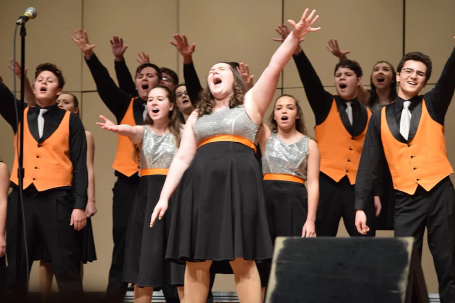 PERFORMING TONIGHT — Rome Free Academy's Rhapsody Show Choir, shown here during a recent performance, will host a performance tonight with the Rome Community Theatre Talent Team and the Denti Elementary Drama Club at the RFA auditorium. It begins at 7 p.m.