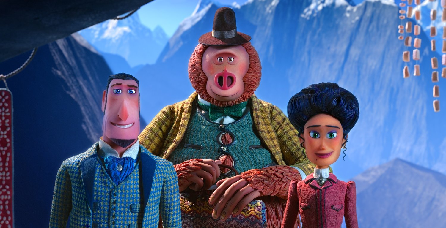 "ON AN ADVENTURE — Sir Lionel Frost, Mr.Link, and Adeline Fortnight in a scene from ""Missing Link."""
