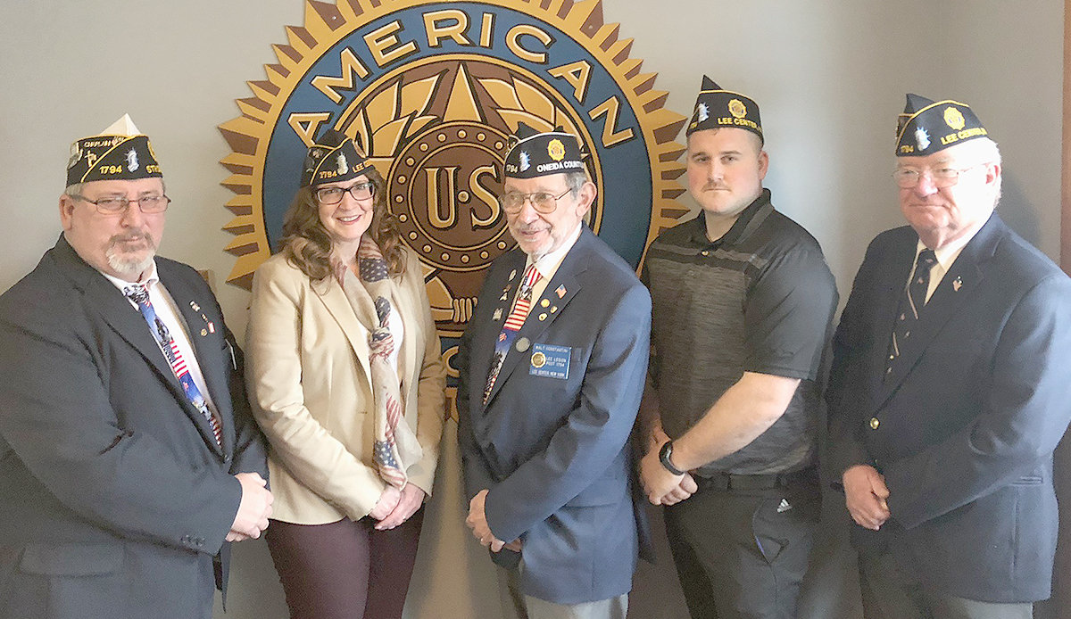 LEE LEGION OFFICERS — Lee American Legion Post 1794 has installed officers for 2019. From left: Guy Berogan, chaplain; Jackie Sweeney, third vice commander; Walt Constantini, commander; Jarrod Decker, sergeant-at-arms; David Combs, second vice commander.