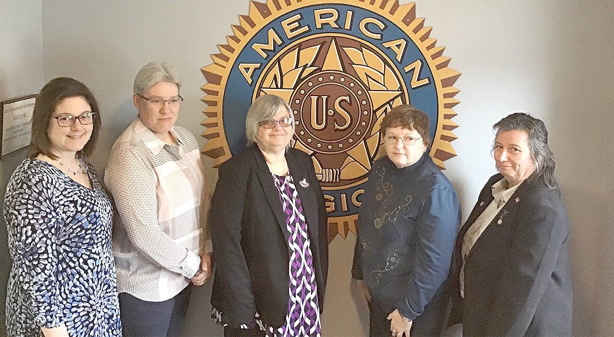 WOMEN'S AUXILIARY OFFICERS — The Lee American Legion Post 1794 Women's Auxiliary has installed officers for 2019. From left: Margo Witchley, sergeant-at-arms; Carol Kieffer, treasurer; Cindy Davis, president; Mary Claire Mondrick, first vice president; Sue Barnaby, second vice president.