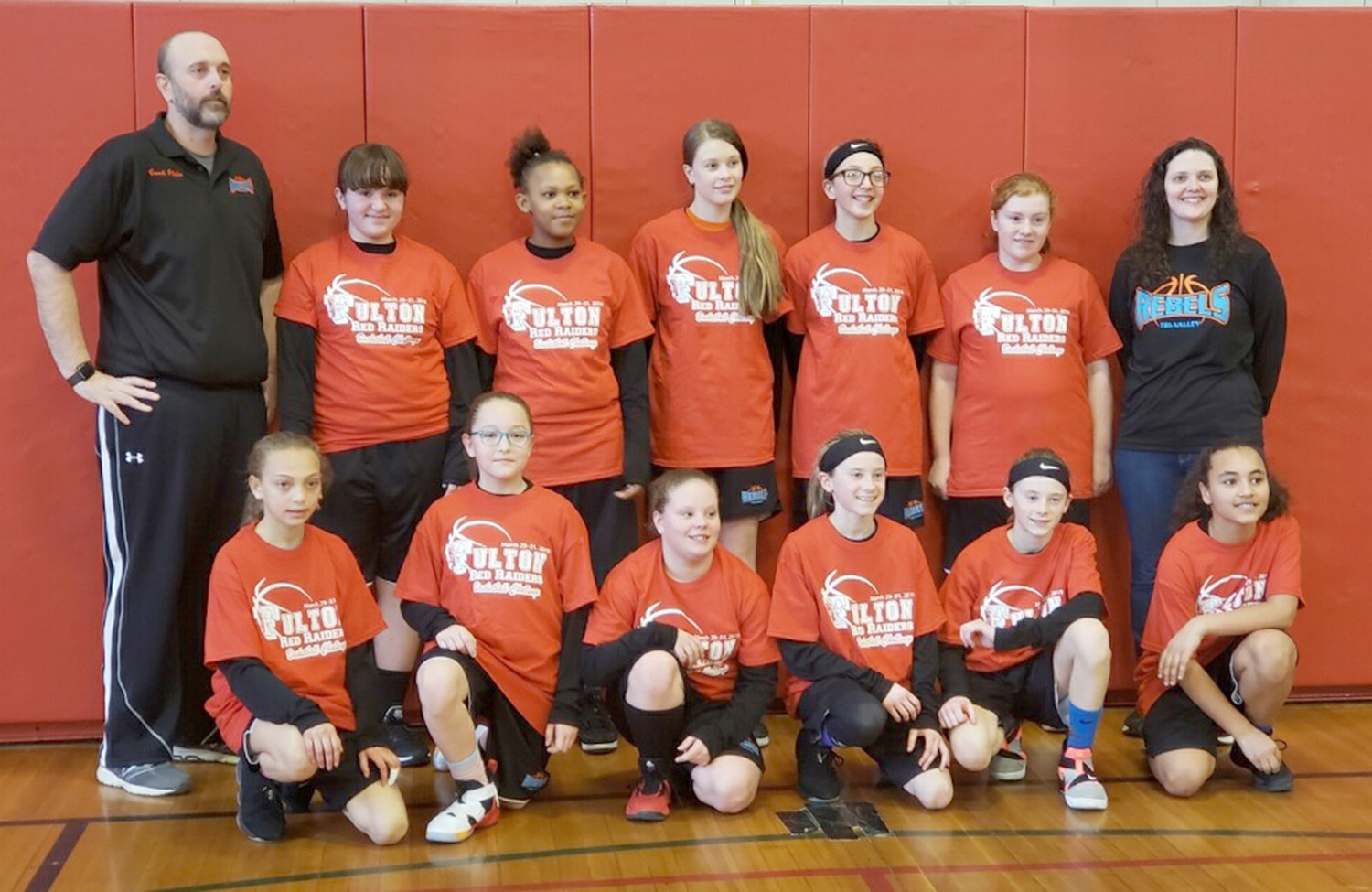 SIXTH-GRADE CHAMPS — The sixth-grade team for the Tri-Valley Rebels captured its second championship of the season by placing first at the Fulton Red Raiders Tournament. Front row, from left: Alana Jackson, Natalia Dipaolo, Emma Weiler, Fiona McMahon, Isabeal McMahon and Liz Dougherty. Back row: coach Rick Platis, Emily Cadrette, Elizabeth Morris, Caitlin Platis, Kayleana VanDeusen, Claire Moore and coach Alyssa Lubeck.