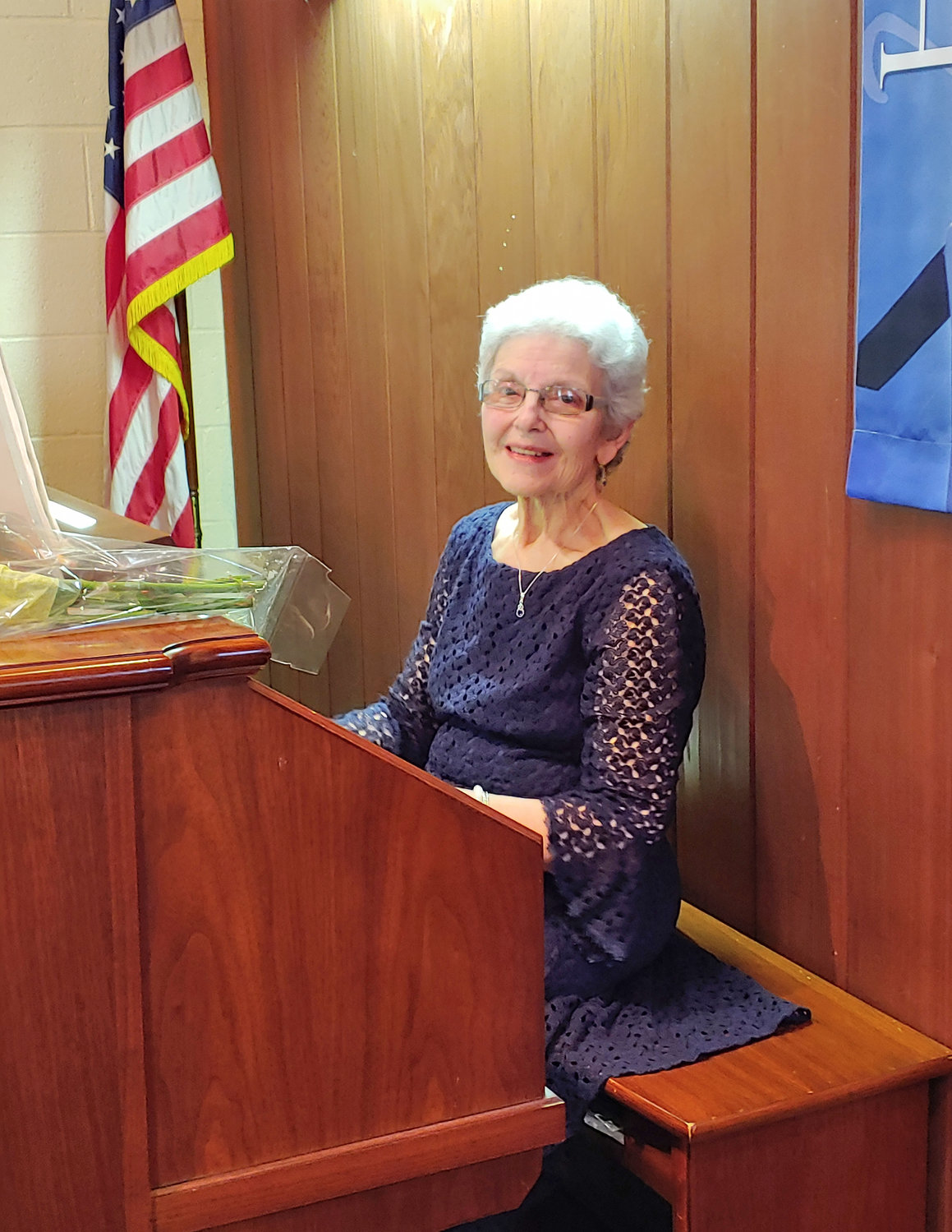LEAVING ON HIGH NOTE — Molly Pritchard, retiring after 25 years as Delta United Methodist Church's music director and organist, sits at the organ at the church's April 28 service.