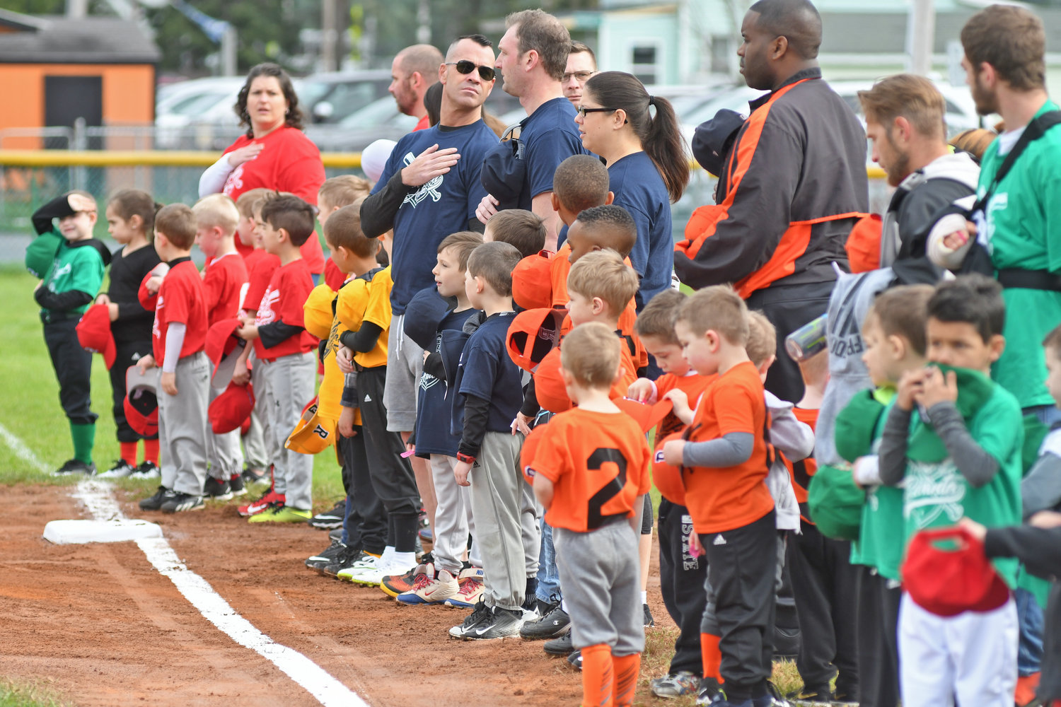 T-Ball little leaguers during the National Anthem at the Bell Road little league fields.